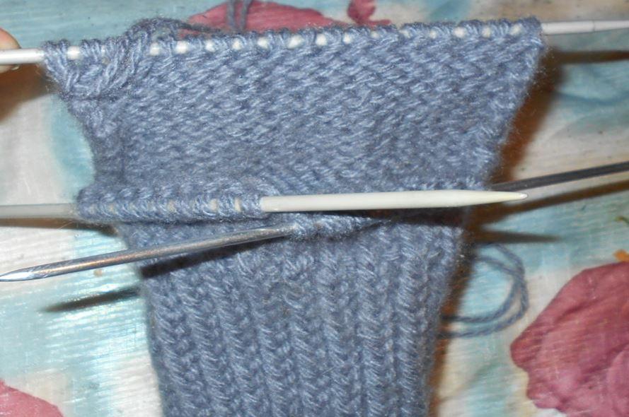 вязание полотна пятки