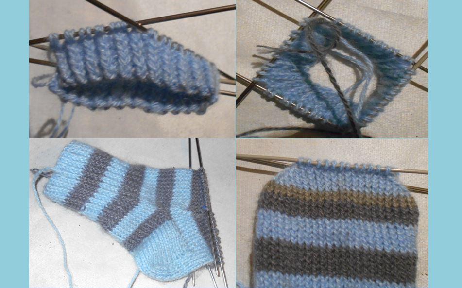 как вязать полосатые носки