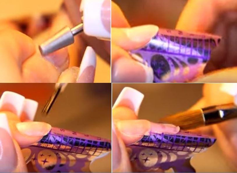 начало формирования ногтя из акрила