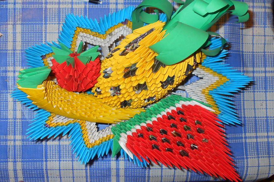 модульное оригами ваза с фруктами