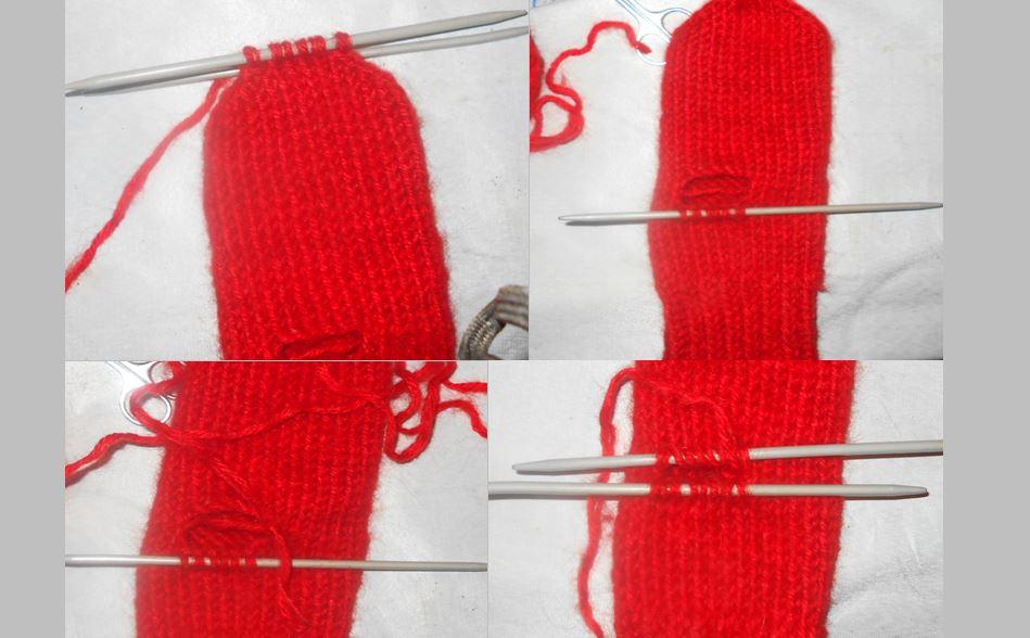 вяжем палец у рукавицы