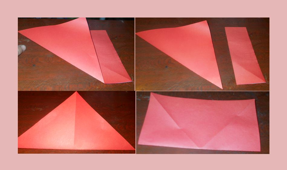 оригами бумажный тюльпан первый этап