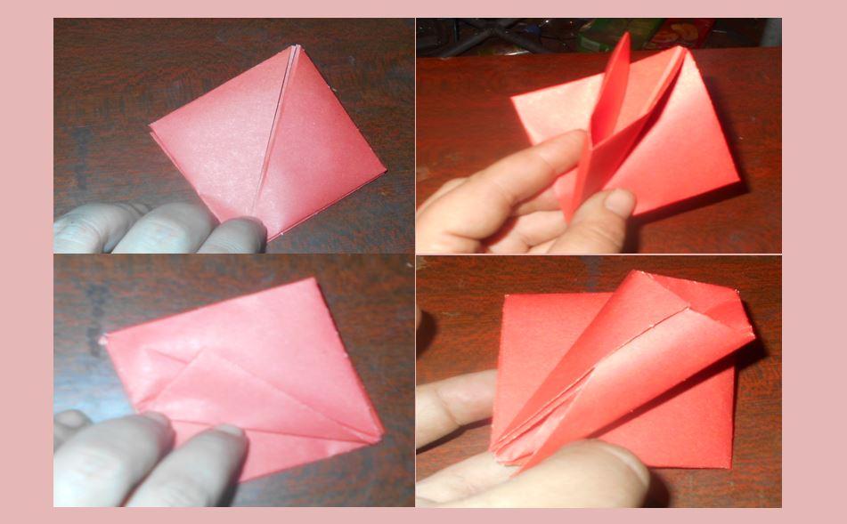 делаем пошагово оригами тюльпан