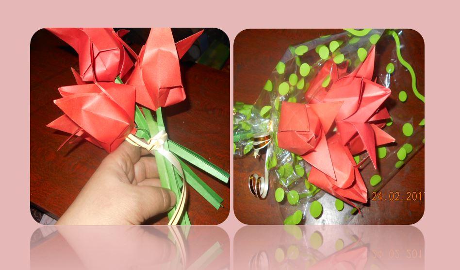букет из бумажных тюльпанов